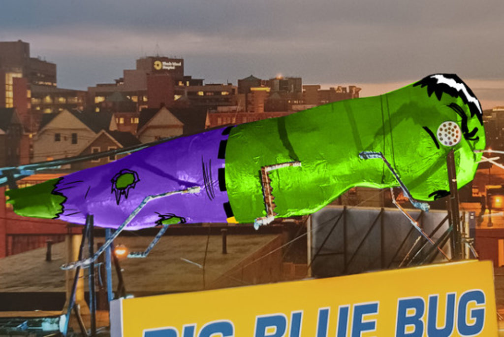 Big Blue Bug to be painted in a Hulk costume for a good cause and to kick off RI Comic Con
